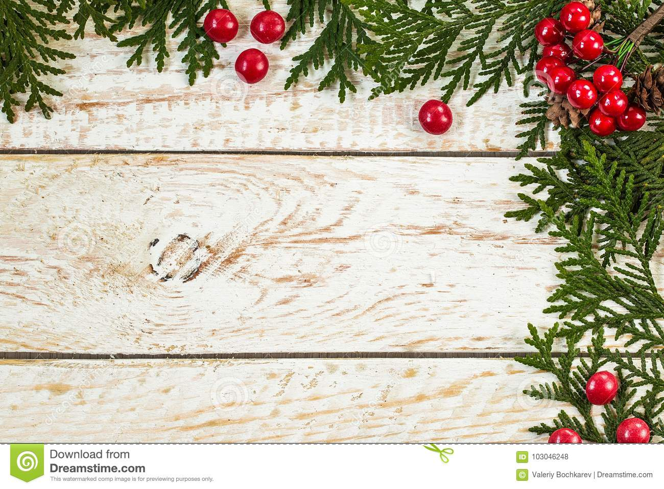 Frame From Christmas Tree Branches With Pine Cones Stock