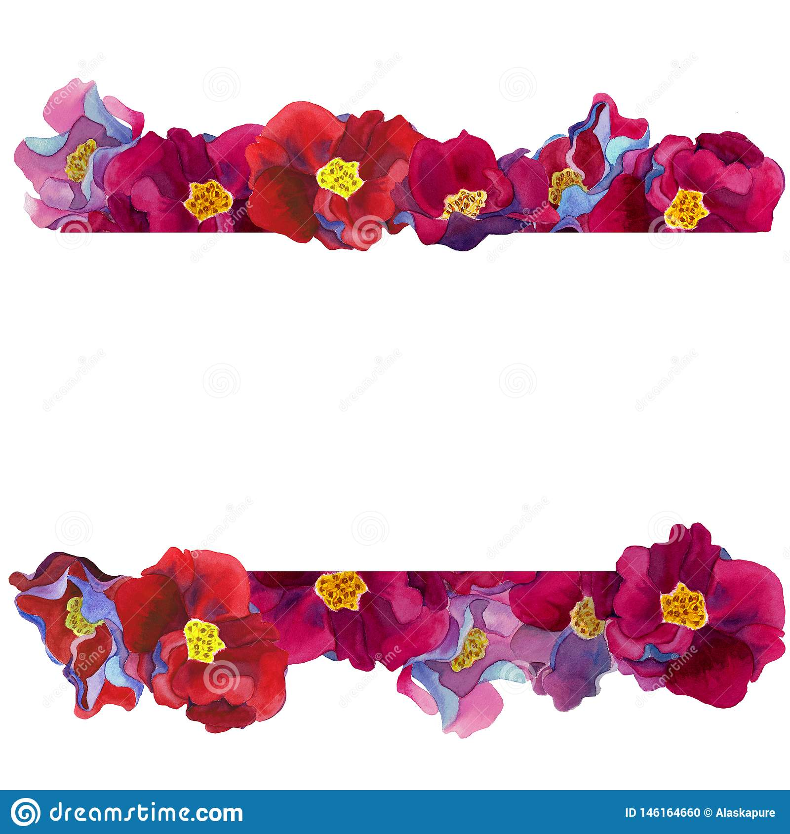 Border  frame of fantastic flowers with pink and red petals, blue and violet shadows,