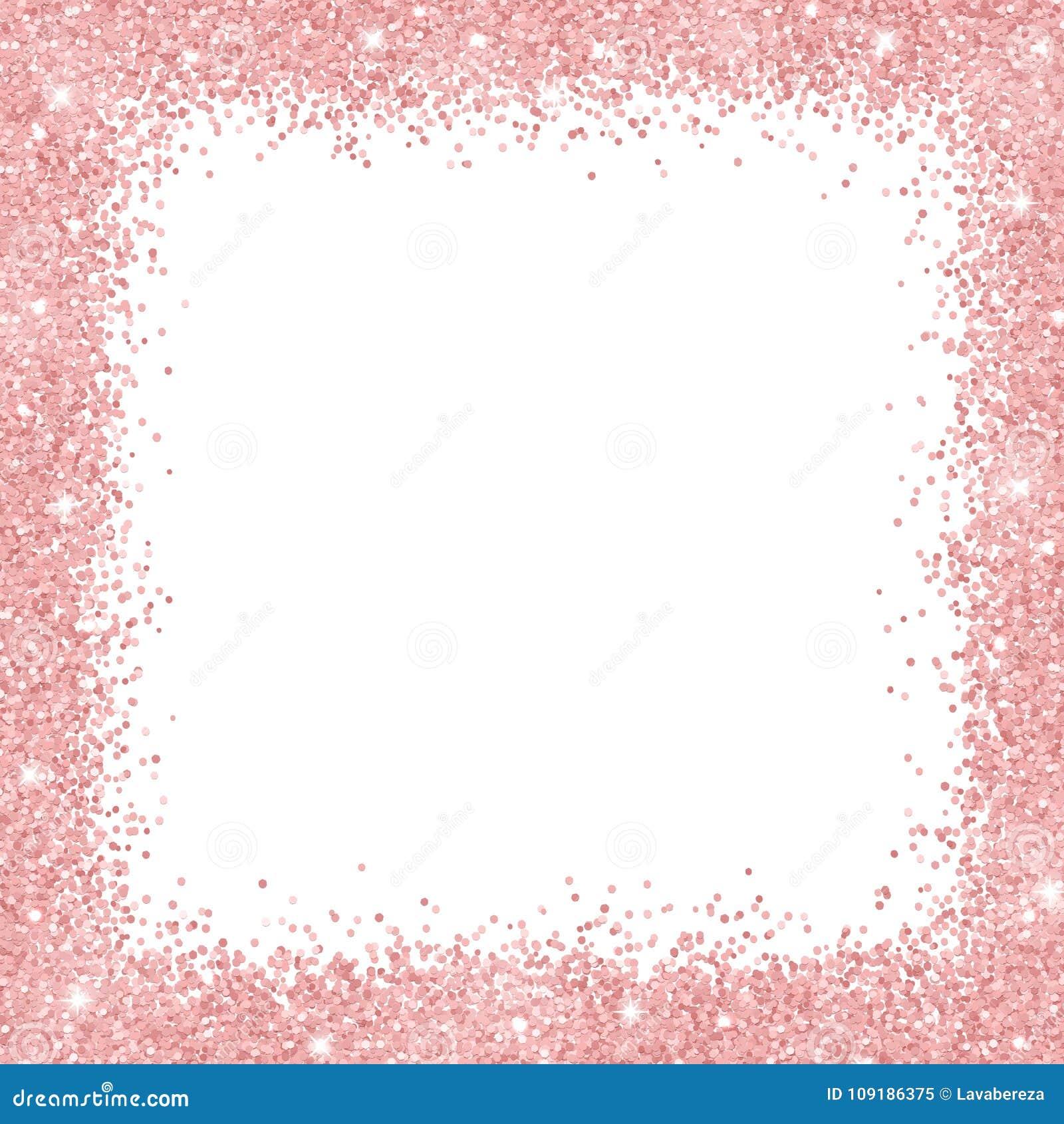 Border Frame With Rose Gold Glitter On White Background Vector