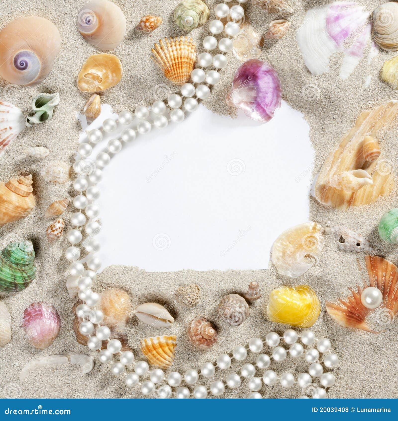 border frame summer beach shell pearl necklace royalty. Black Bedroom Furniture Sets. Home Design Ideas