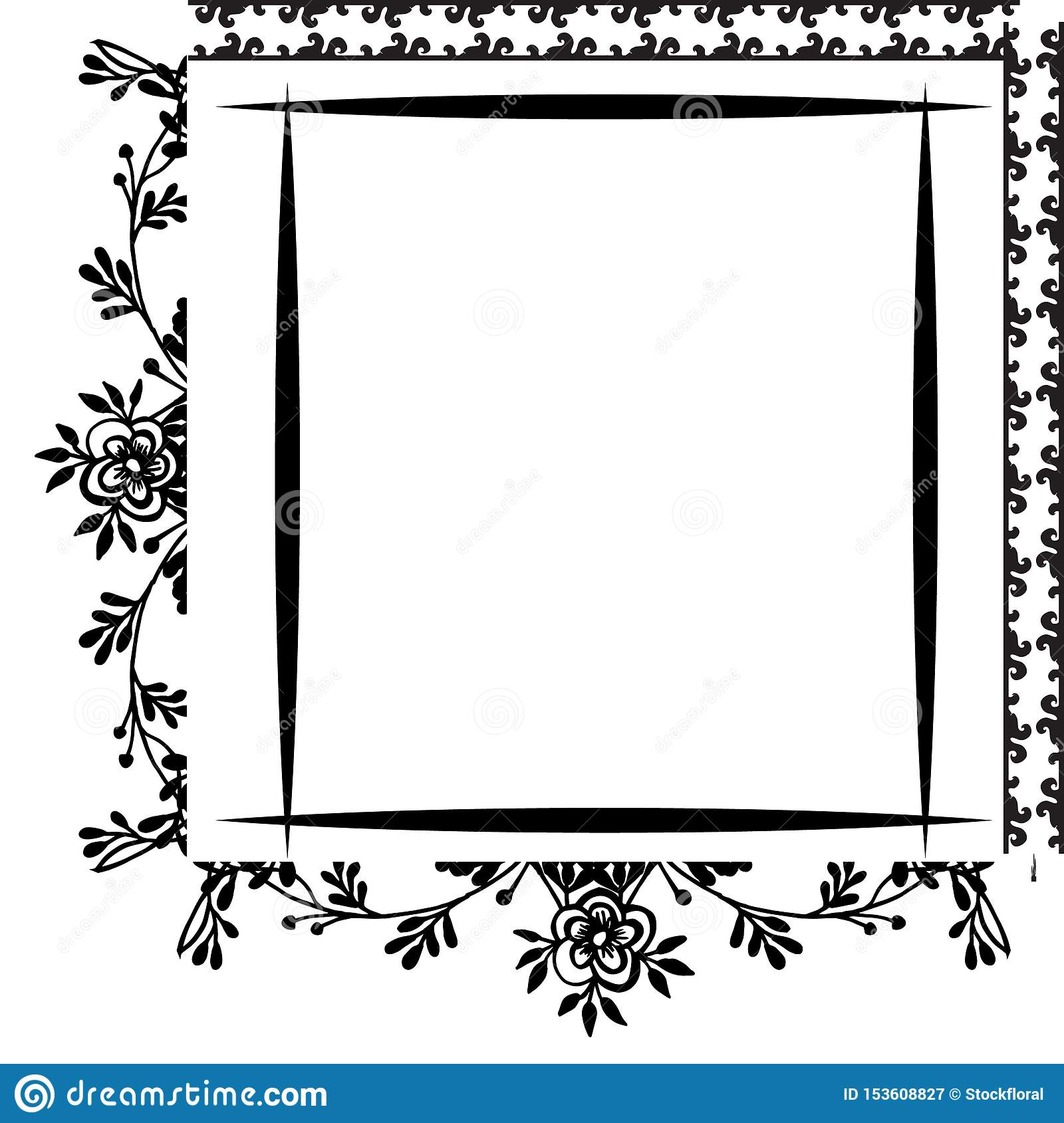 Border Frame Unique Drawing Flowers Invitation Card And