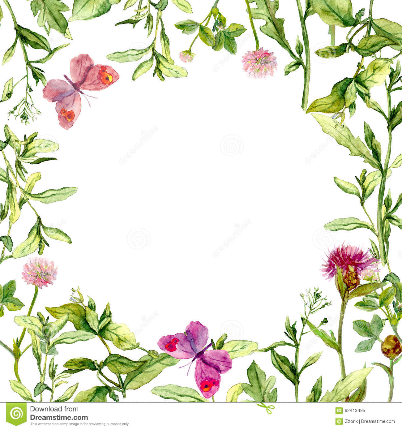 Border frame wit...Clipart Flowers And Butterflies Border
