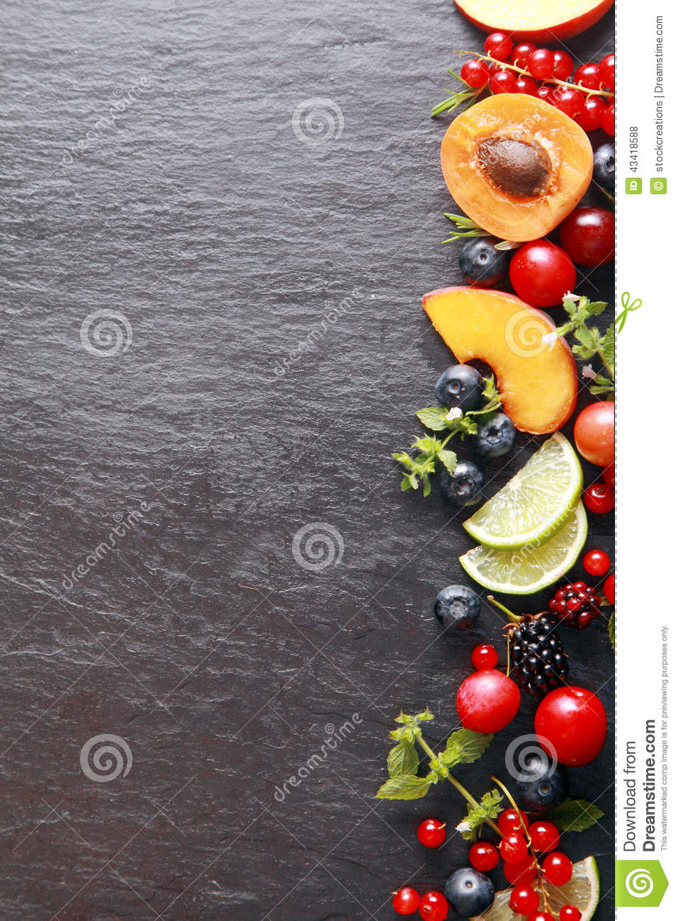 Border Of Fresh Fruit And Herbs Stock Photo Image 43418588