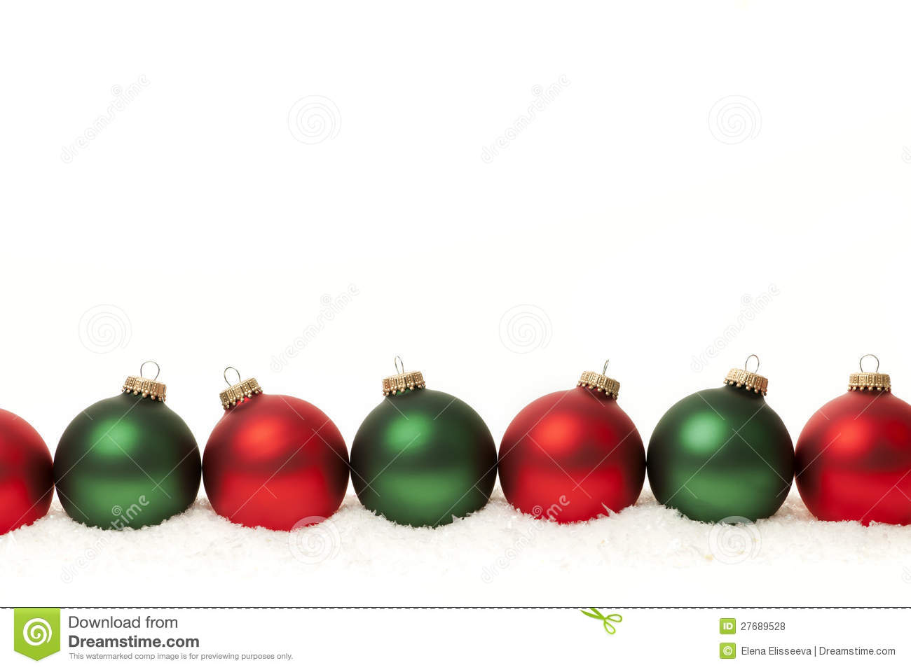 Border of green and red christmas balls royalty free stock for Red and green christmas decorations