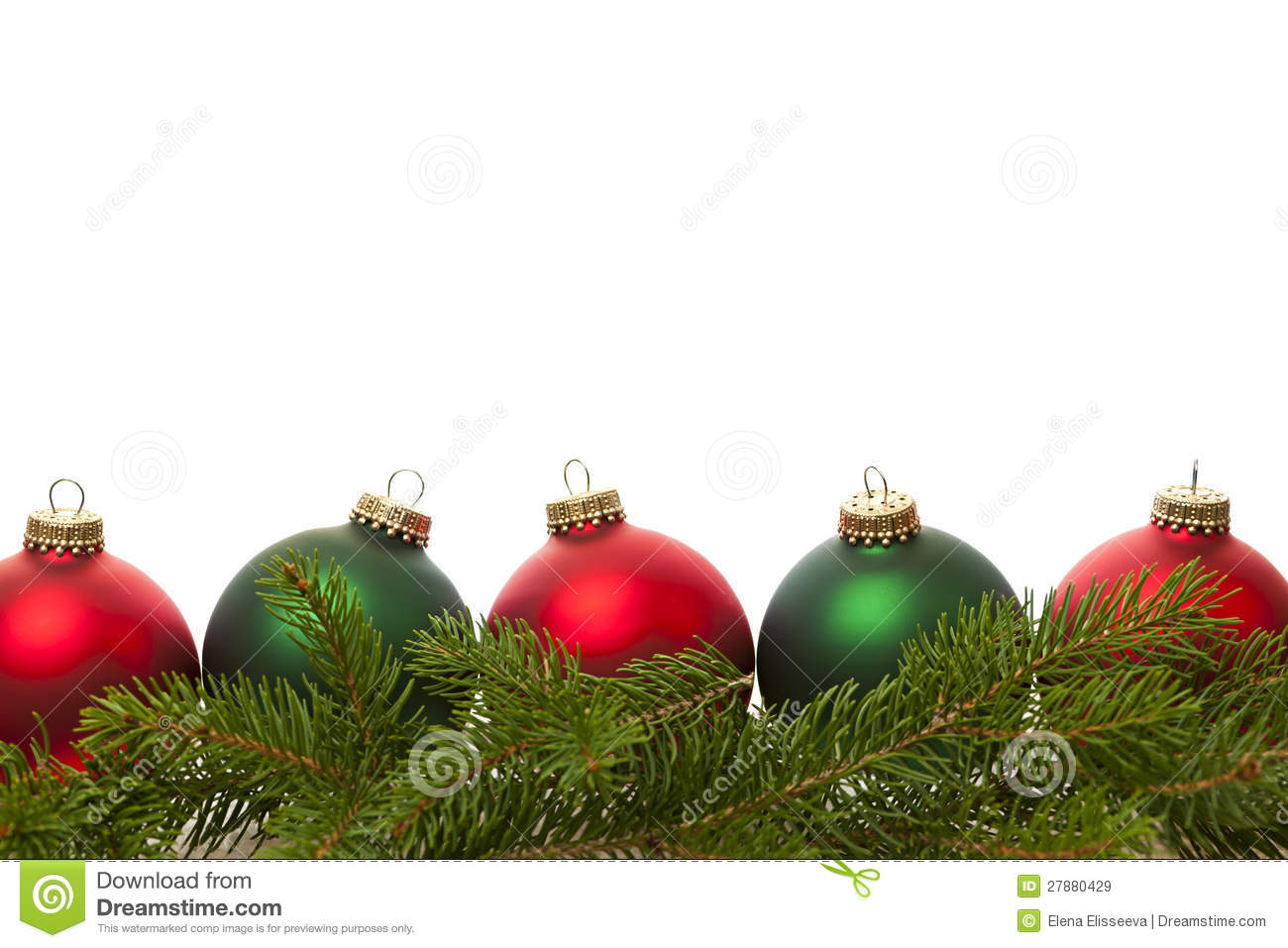 Christmas Green And Red.Border Of Green And Red Christmas Balls Stock Image Image