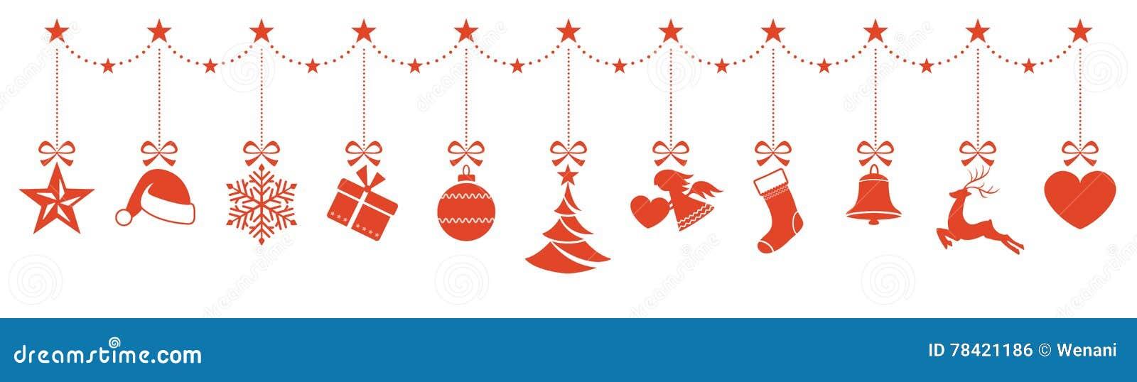 border of hanging christmas ornaments stock vector. Black Bedroom Furniture Sets. Home Design Ideas