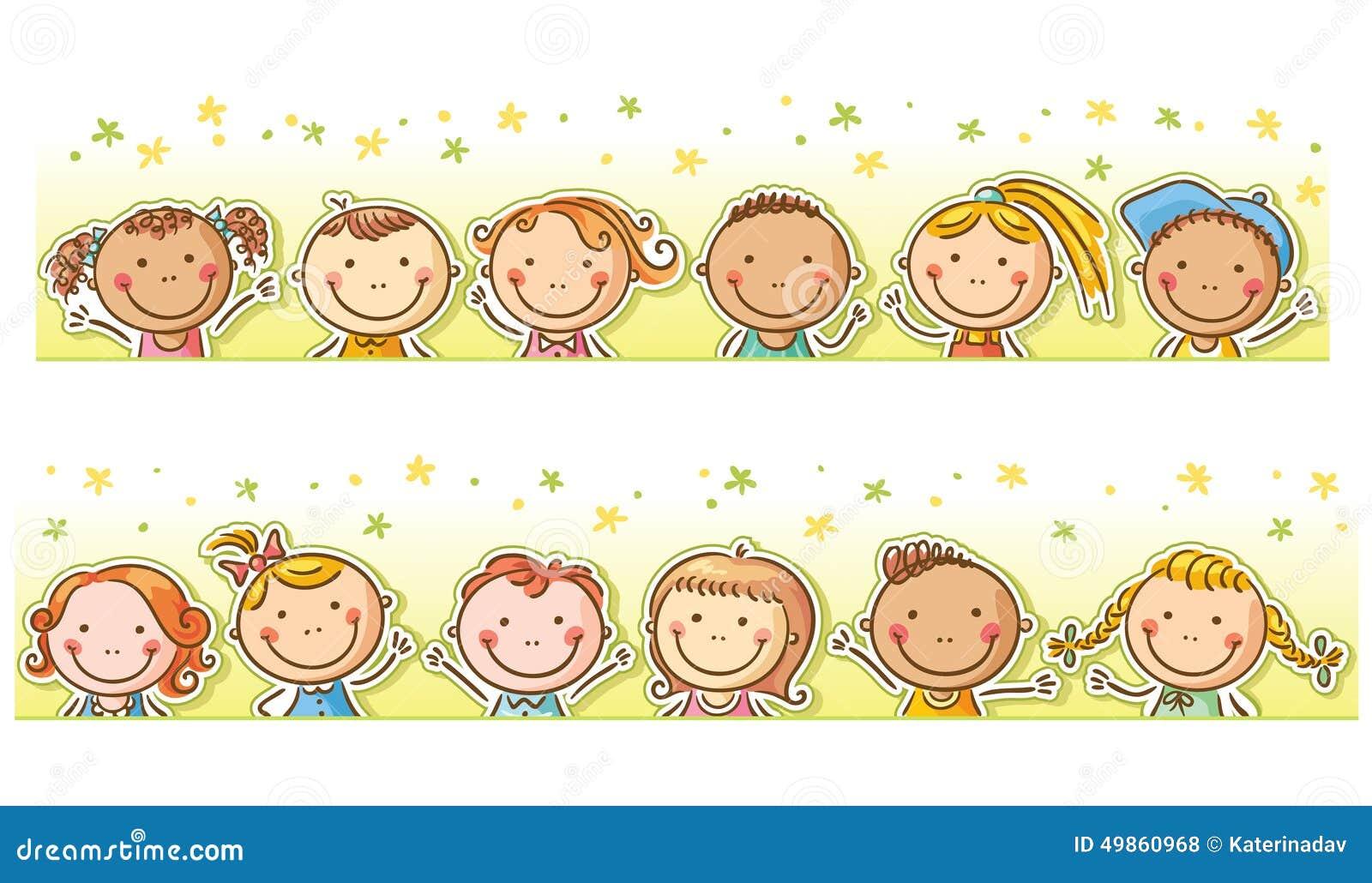 border with happy cartoon kids stock vector illustration fall border clip art free images Free Fall Border Clip Art Fancy
