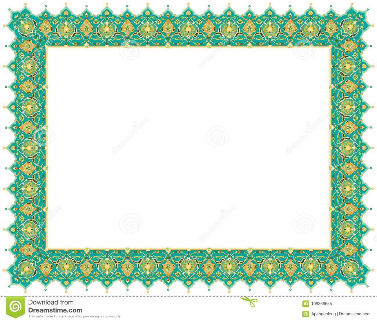 Floral Art Ornament Border In Green Colour Stock Vector