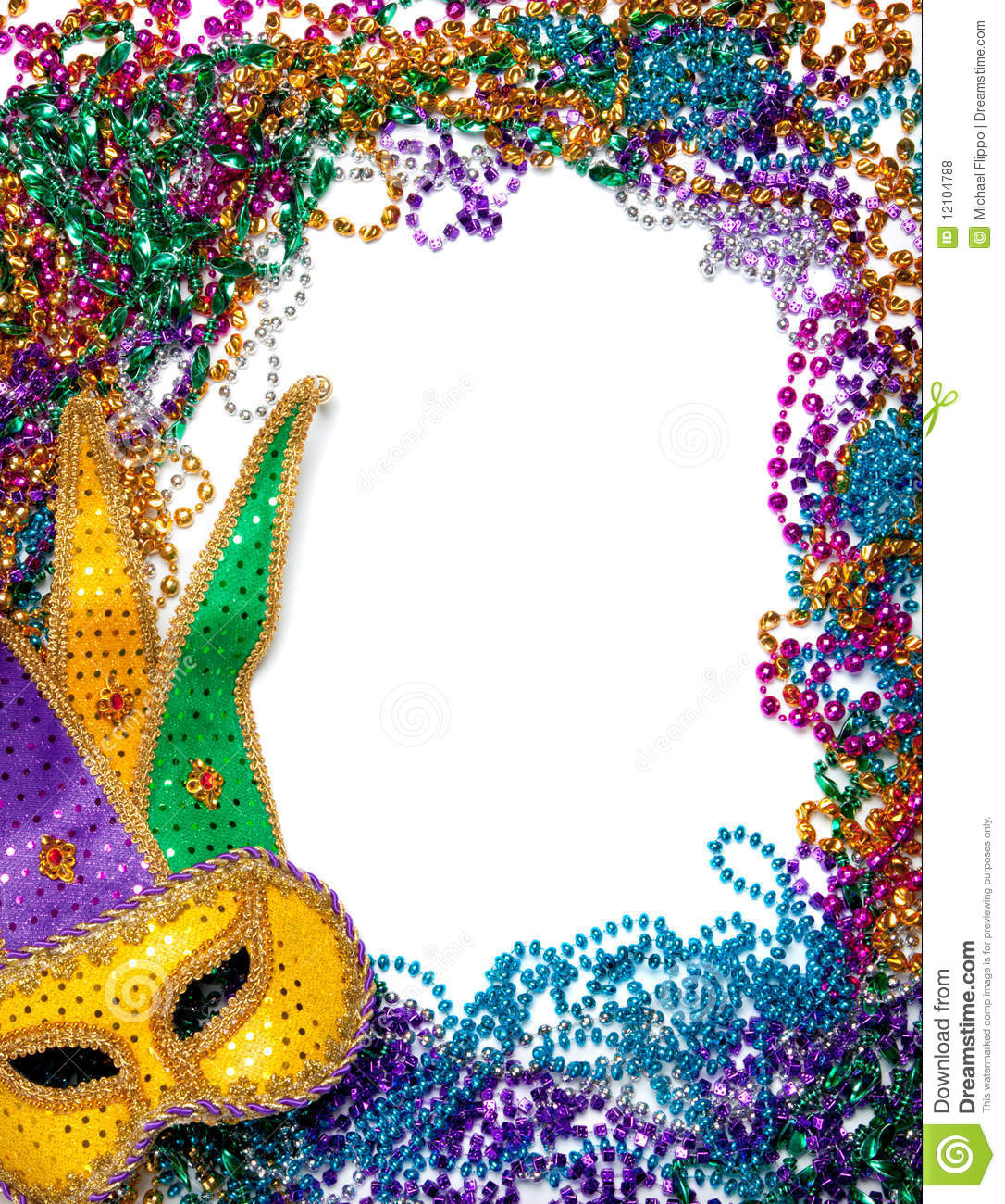 Border Made Of Mardi Gras Bead And Mask On White Royalty Free Stock ...