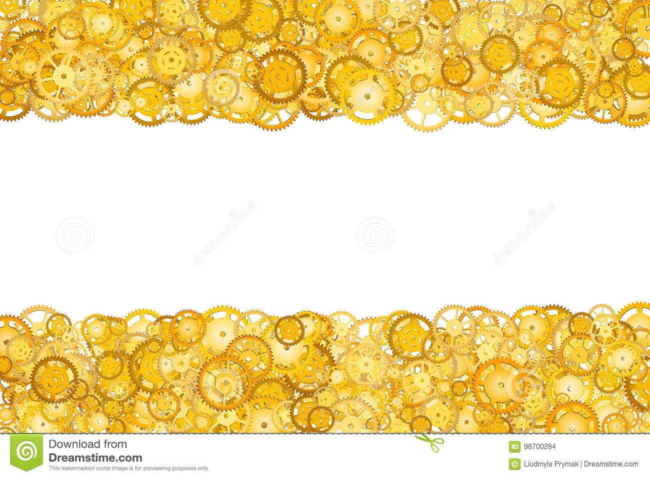 Border with many gears. Golden frame of gears. Technological frame. Mechanical design. Yellow cogs.