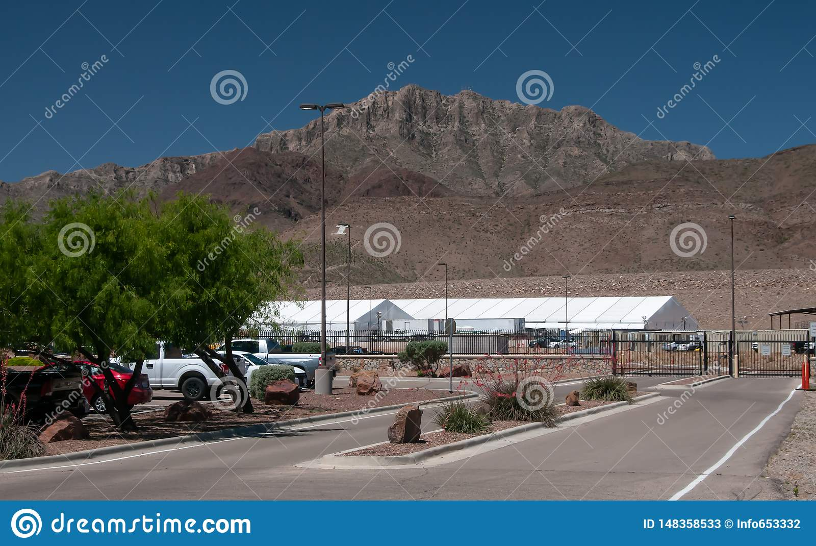 Border Patrol Station, El Paso Texas with the new temporary tent compex in rear