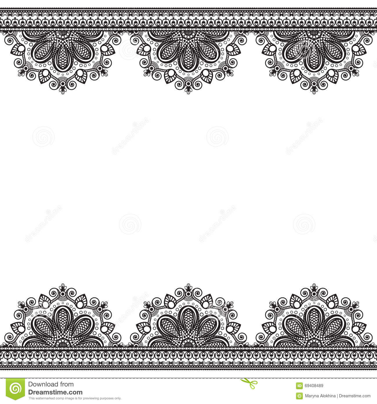 Ornate vintage vector background in mehndi style royalty free stock - Border Pattern Elements With Flowers In Indian Mehndi Style For Card And Tattoo Isolated On White