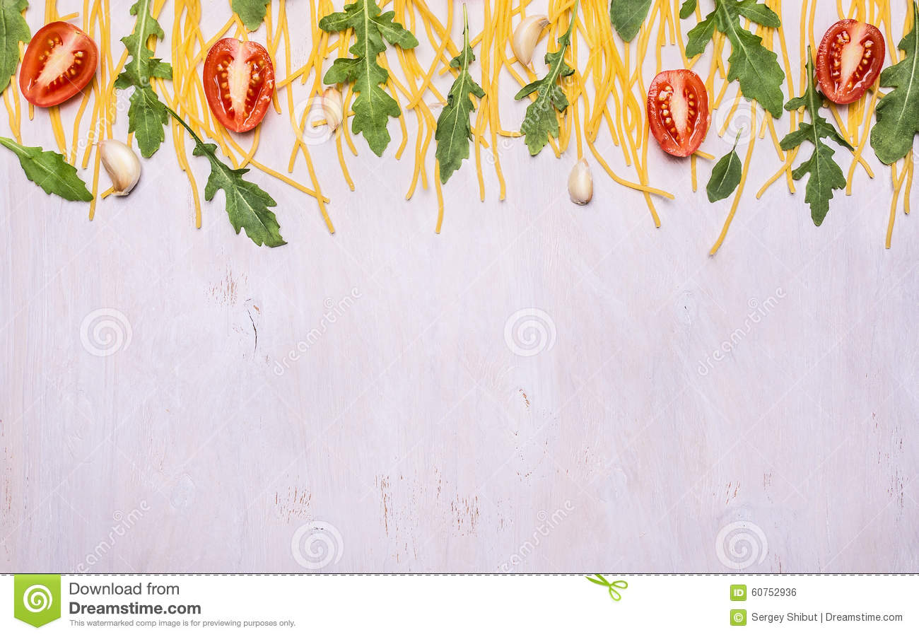 Border Raw Pasta Arugula Cherry Tomatoes On Wooden Rustic Background Close Up Top View Banner For