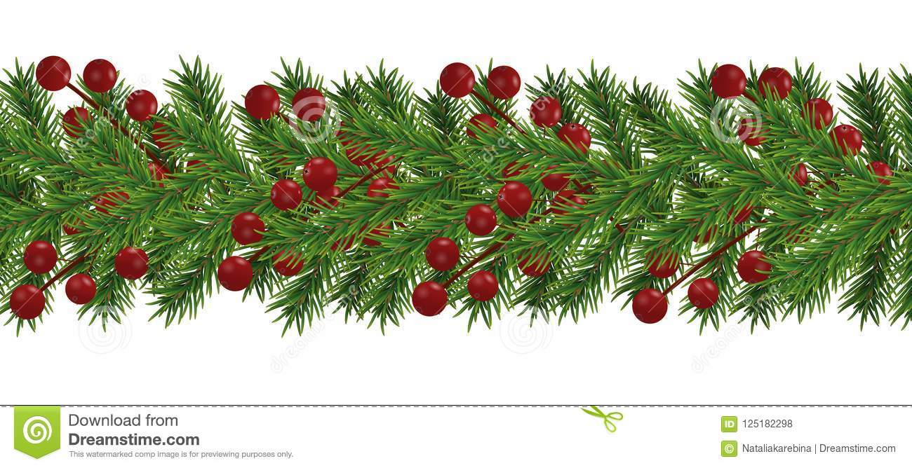 border of realistic looking christmas tree branches decorated with berries for christmas and new year