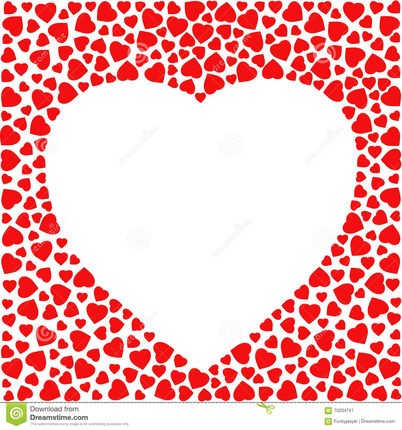 Border With Red Hearts. Greeting Card Design Template Decorated With ...