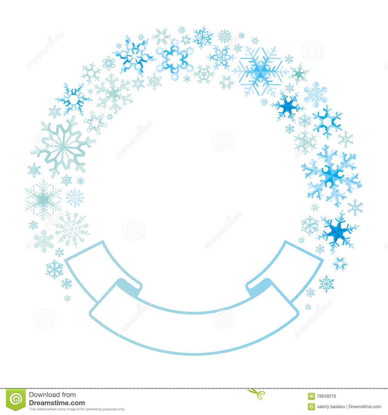 border and ribbon from colored snowflakes stock vector