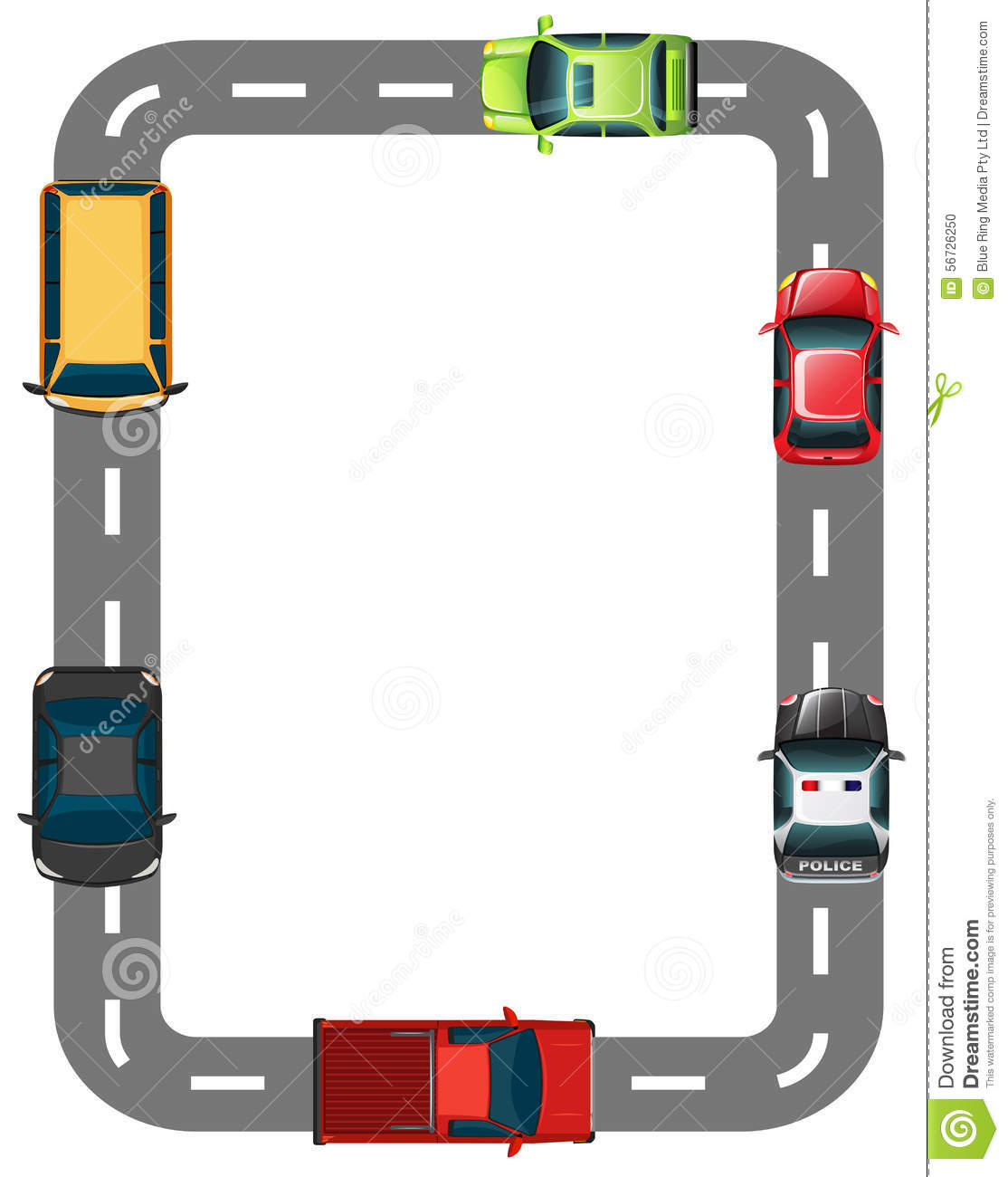 Border With Road And Cars Stock Vector Image 56726250