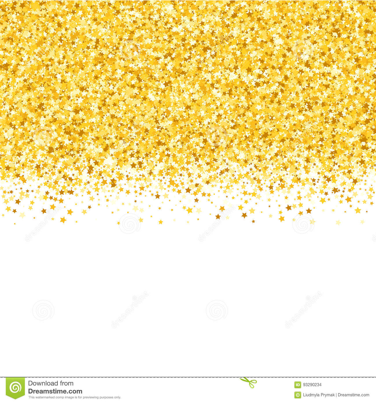 Border With Shimmer Stars Gold Sparkle Golden Frame Of Confetti