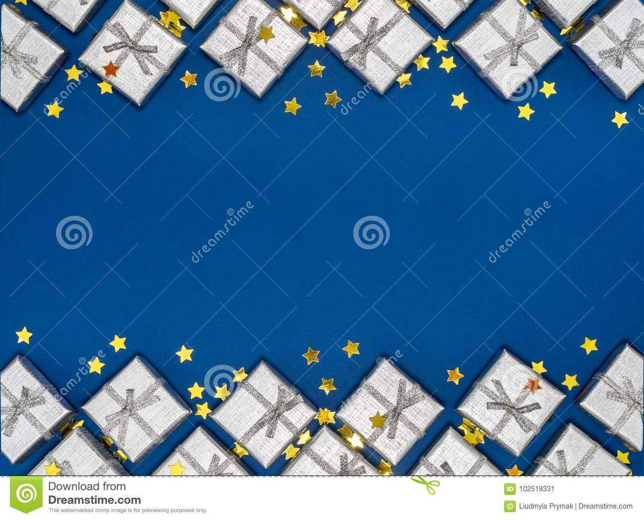 Border of silver shiny gifts and golden stars on blue background. Christmas decorations