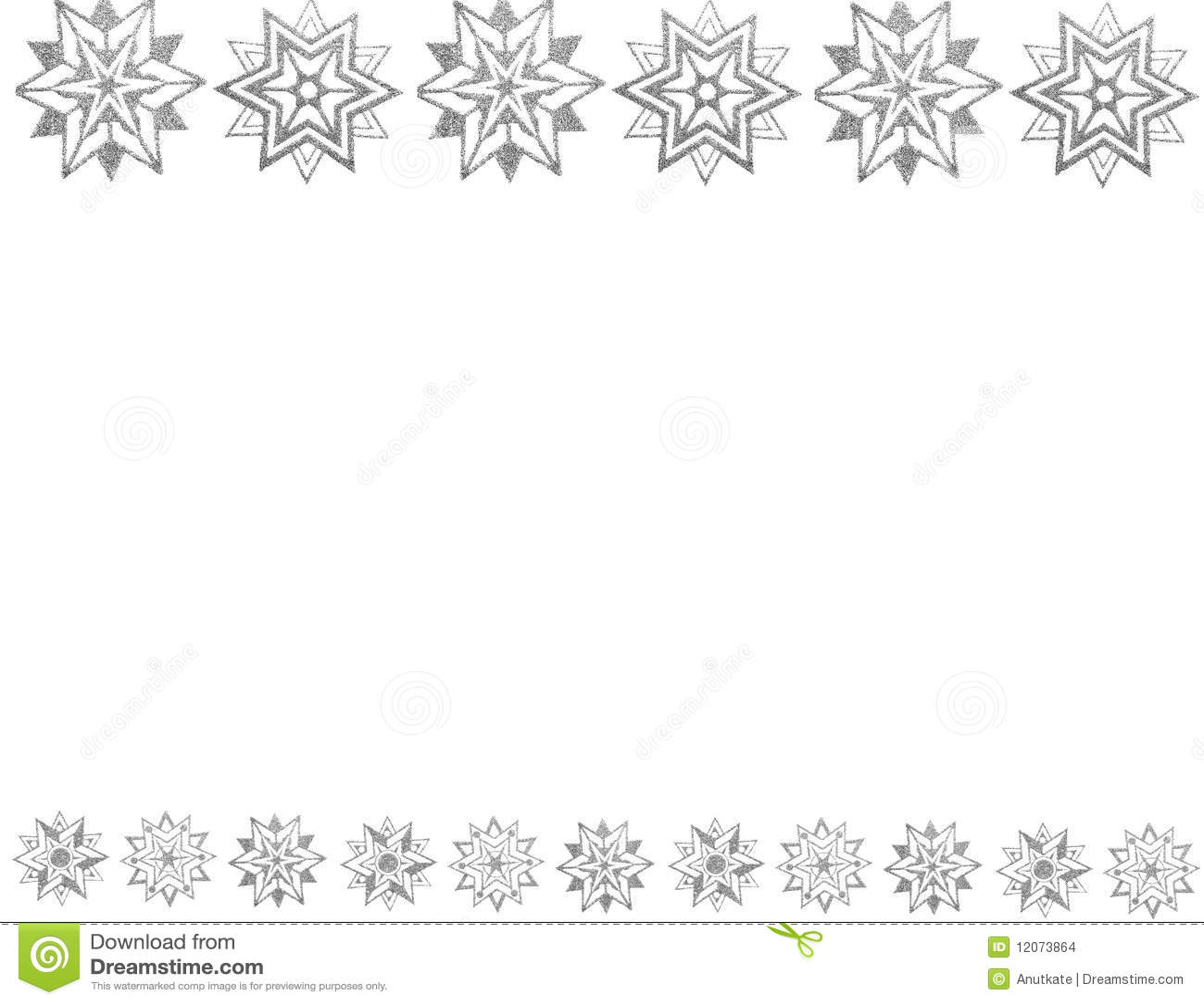 Border of silver snow stars stock illustration