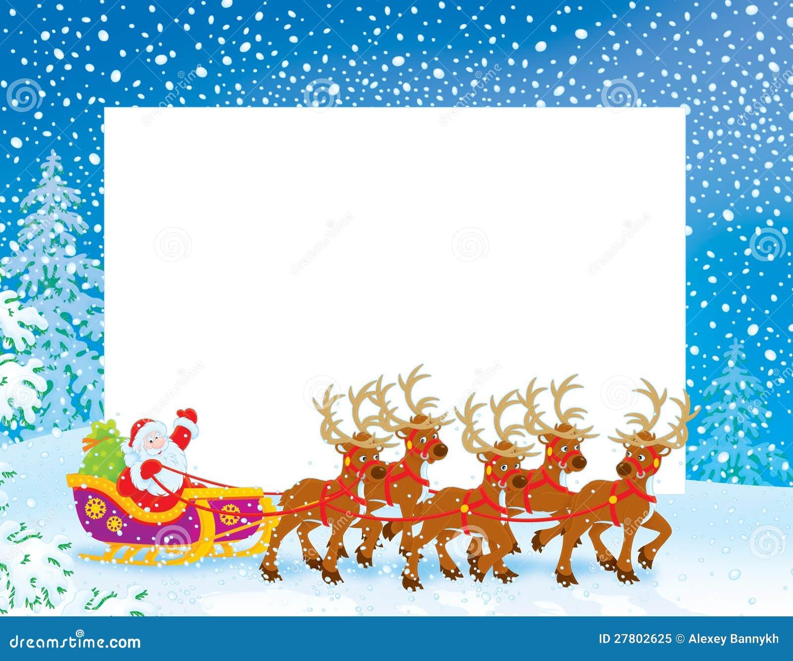 border with sleigh of santa claus stock illustration