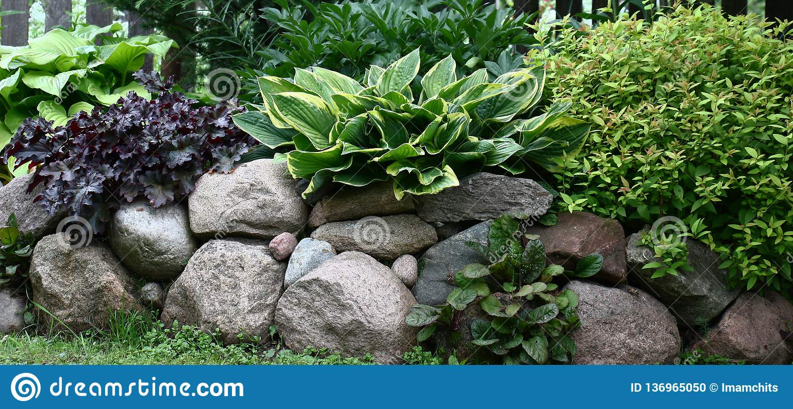 Border From Stones And Plants Stock Photo Image Of Large