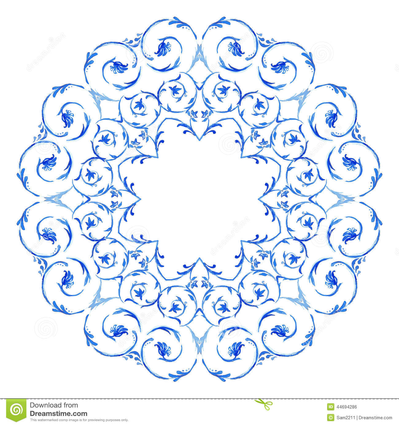 Border With Swirls. Floral Motif Frame Stock Vector ...