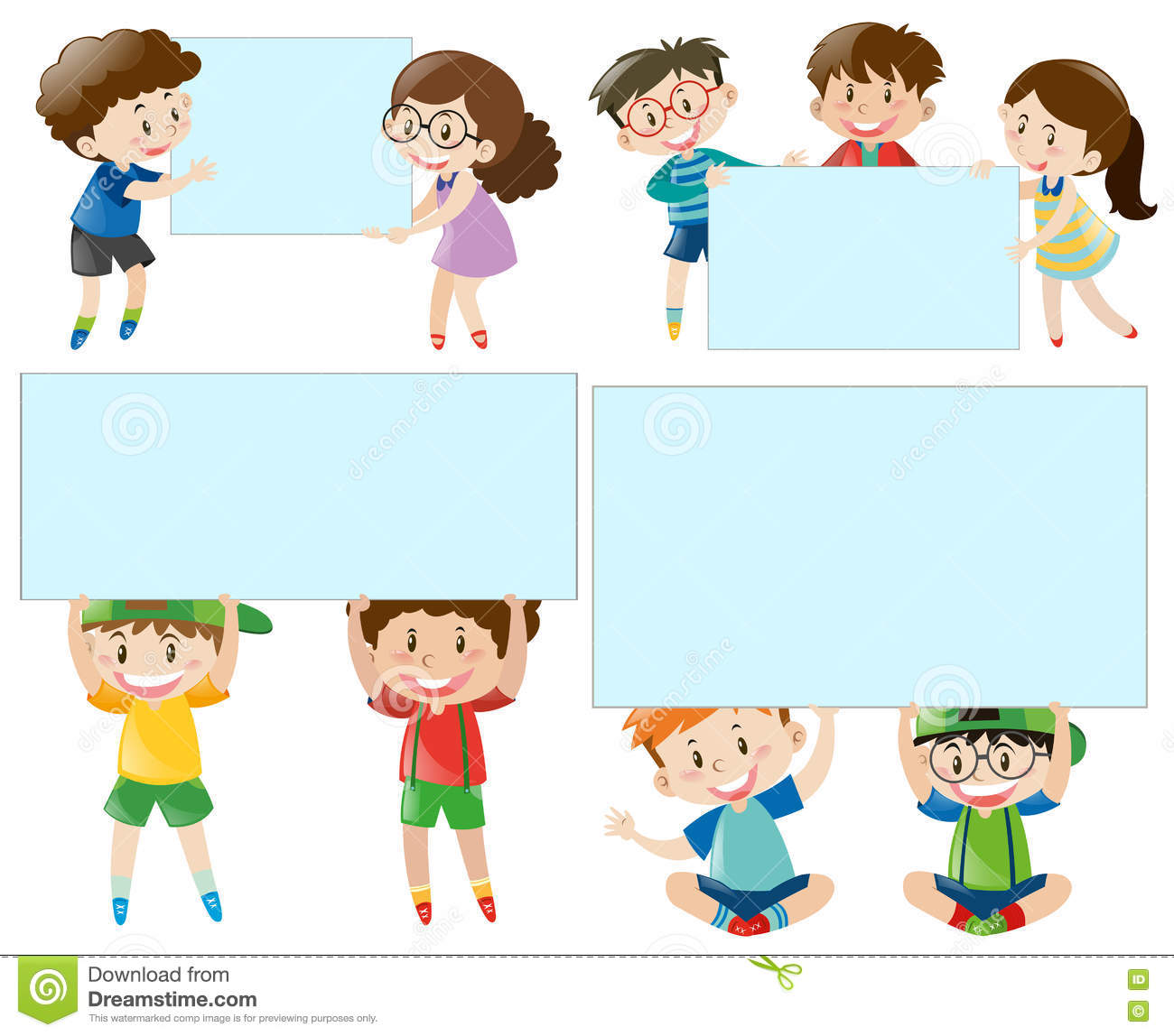 Border Template With Boys And Girls Stock Vector - Image: 81888278
