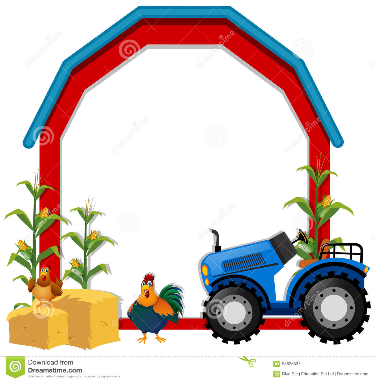border template with chickens and tractor stock vector
