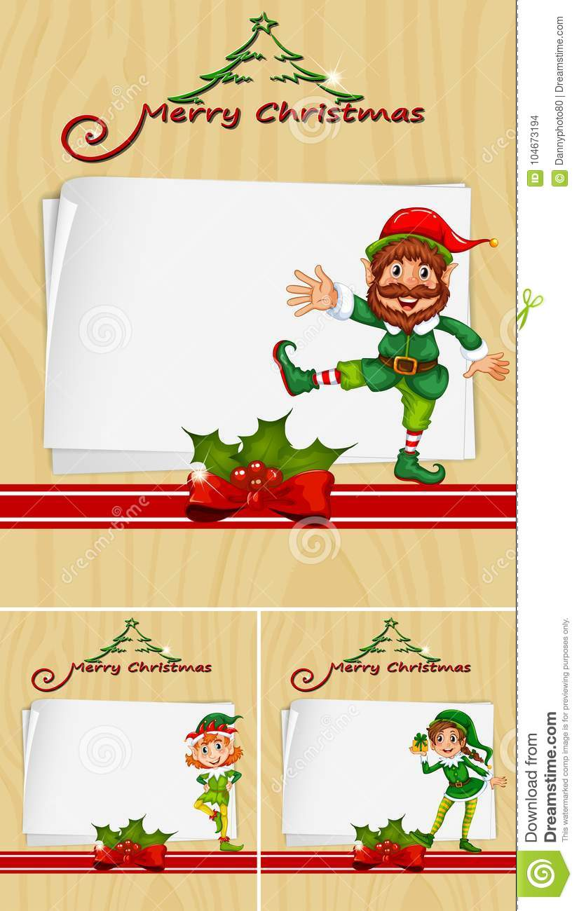 border template with christmas elves stock vector illustration of