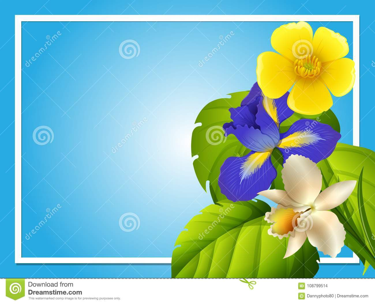 border template with colorful flowers in garden stock vector