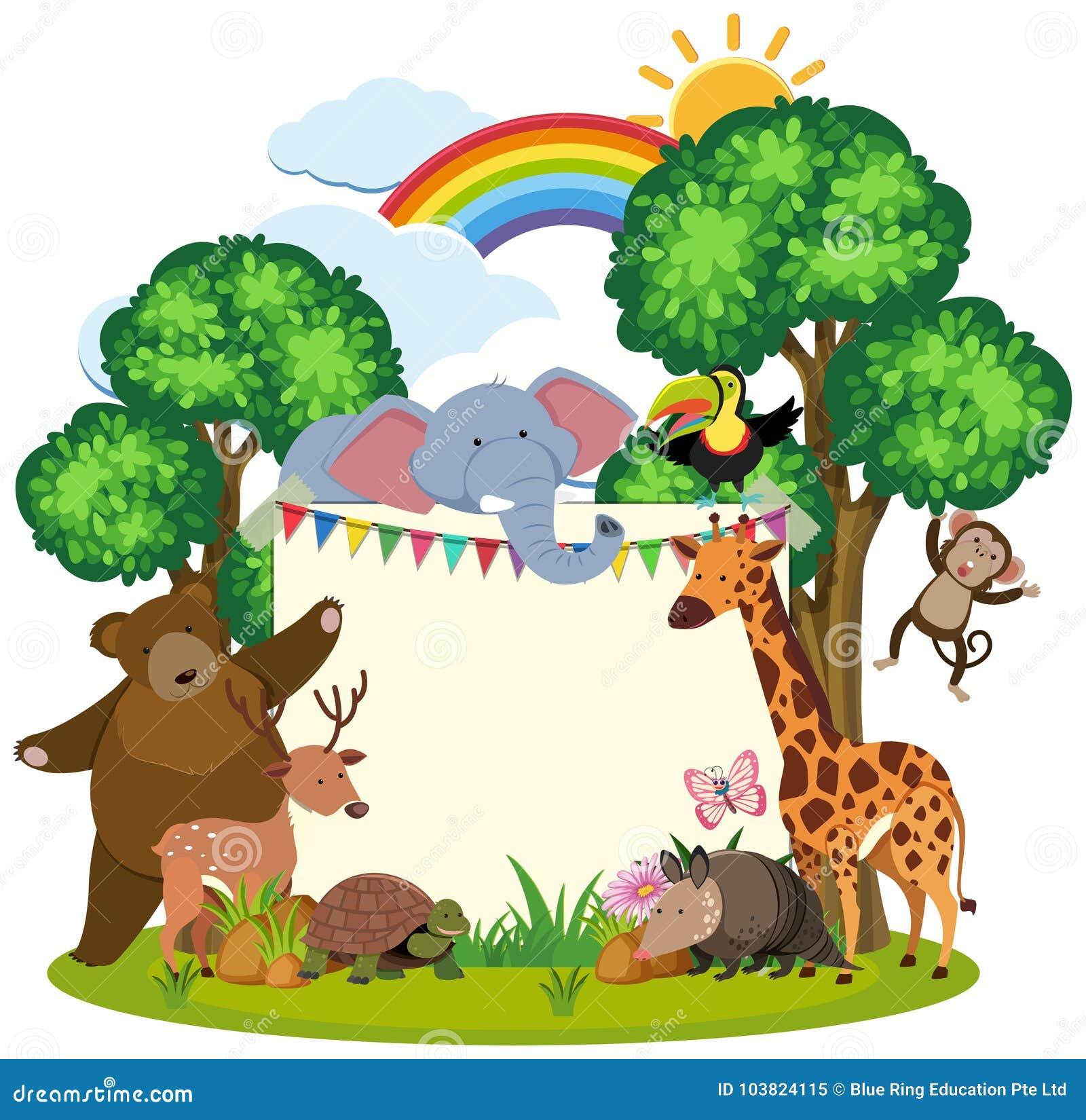 Border Template With Cute Animals In Garden Stock Vector ...