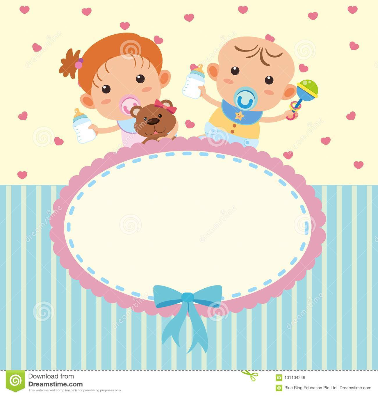 border template with cute boy and girl stock vector illustration
