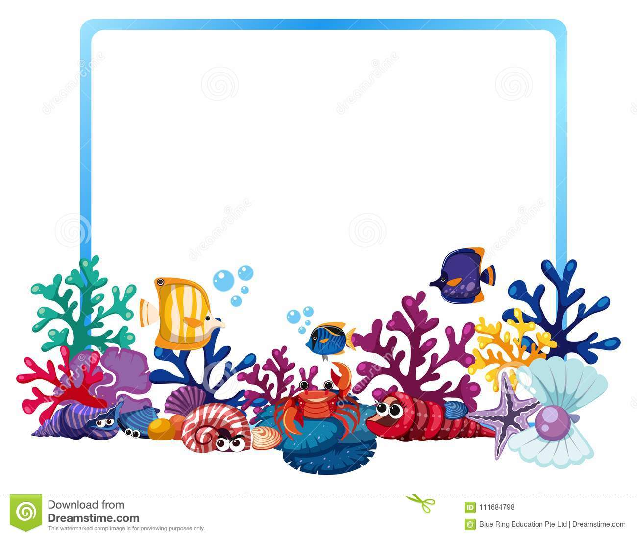 border template with fish and coral reef stock illustration