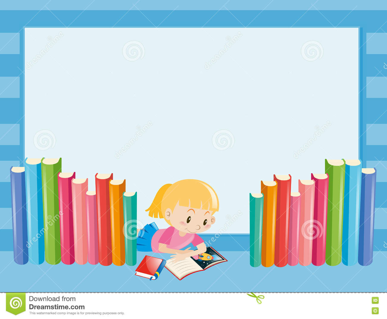 Border Template With Girl Reading Book Stock Vector - Image: 81169001