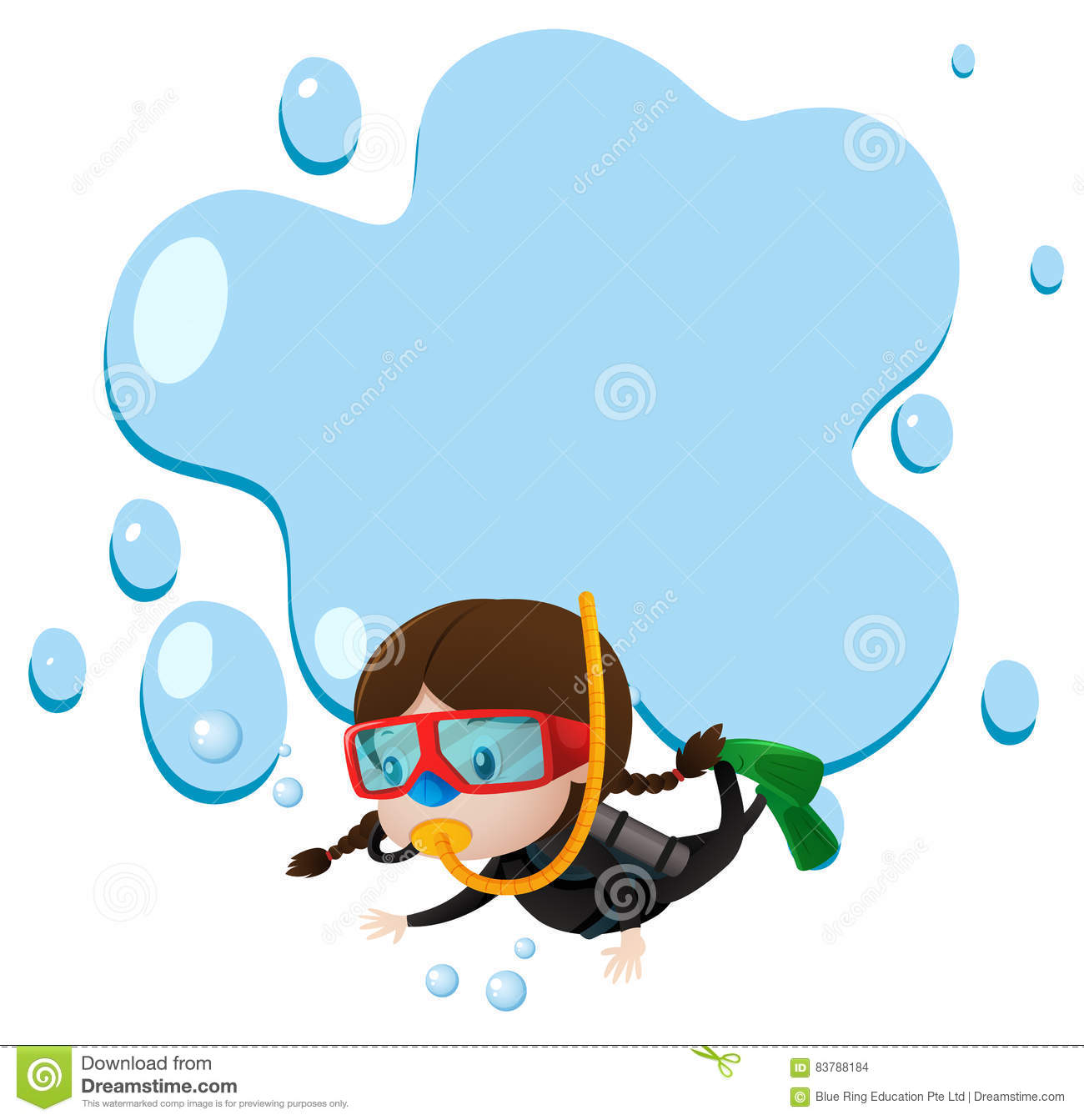 border template with kid scuba diving stock vector