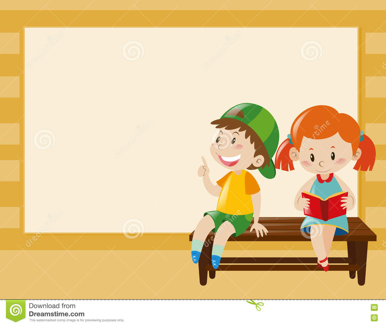Border Template With Kids On The Bench Stock Illustration