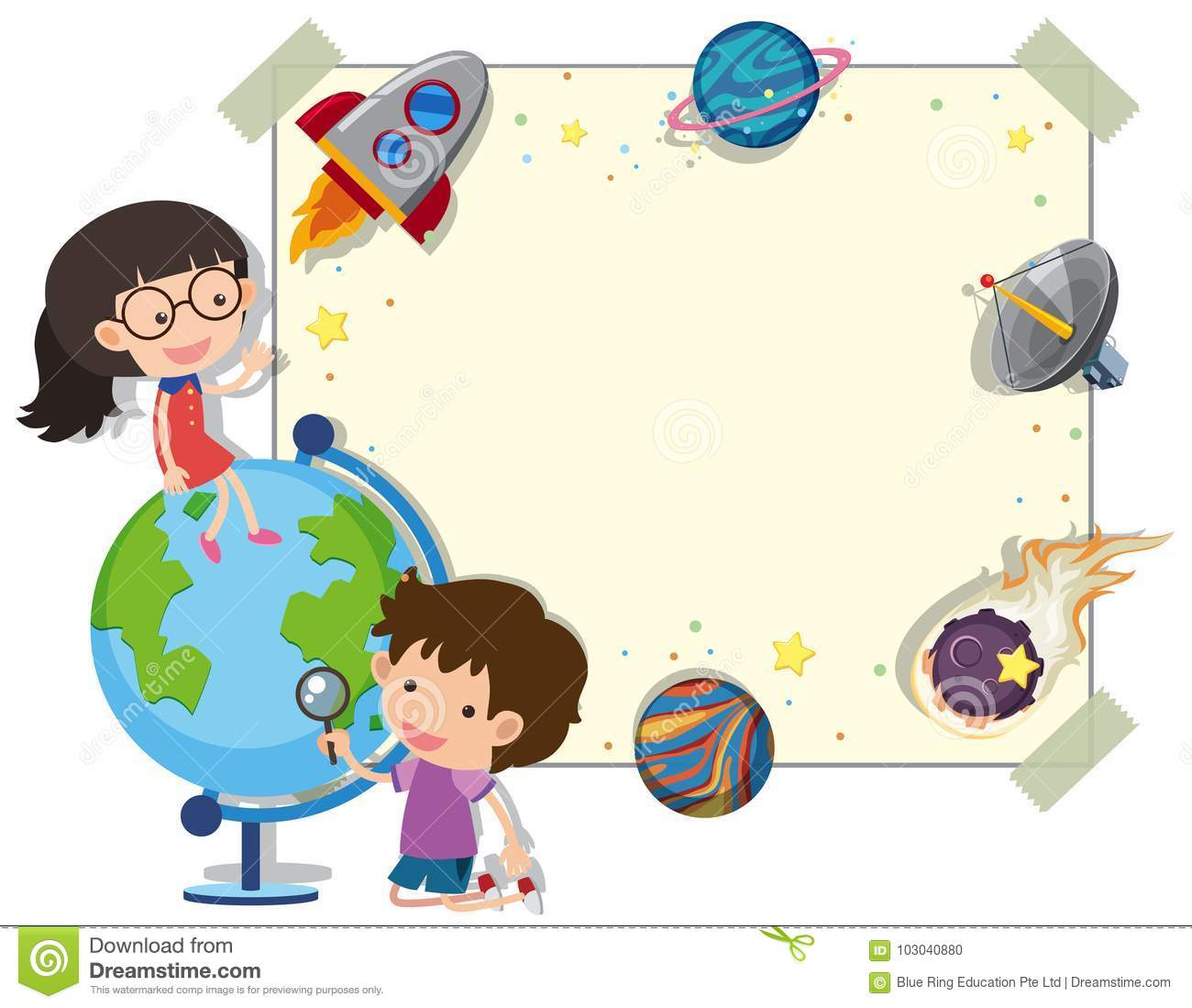 border template with kids and planets stock vector illustration of