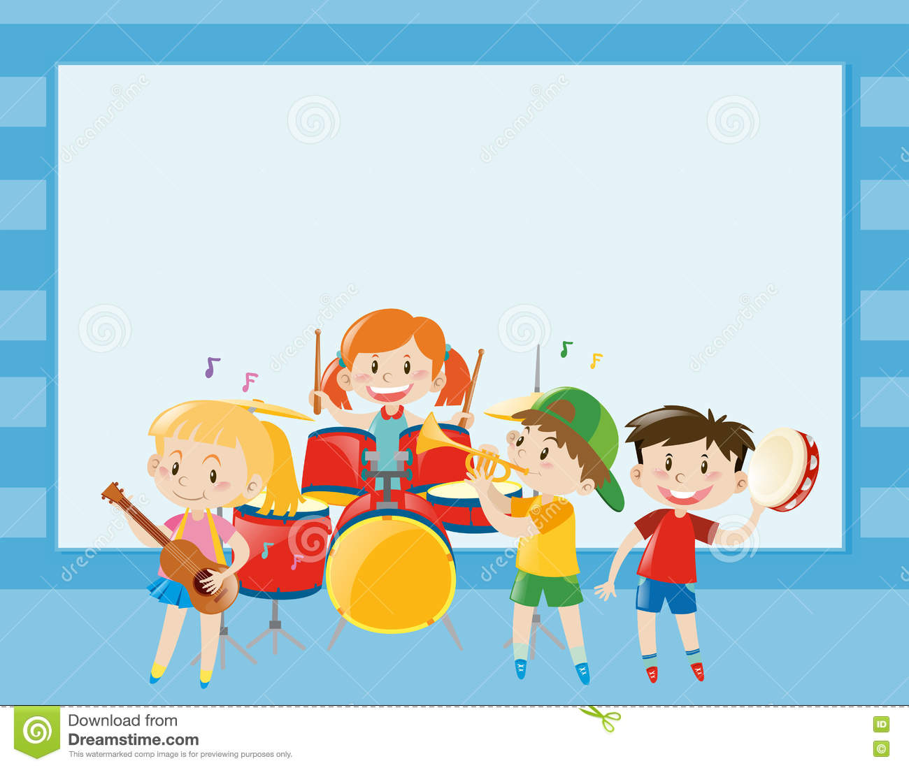 Border template with kids playing music in band