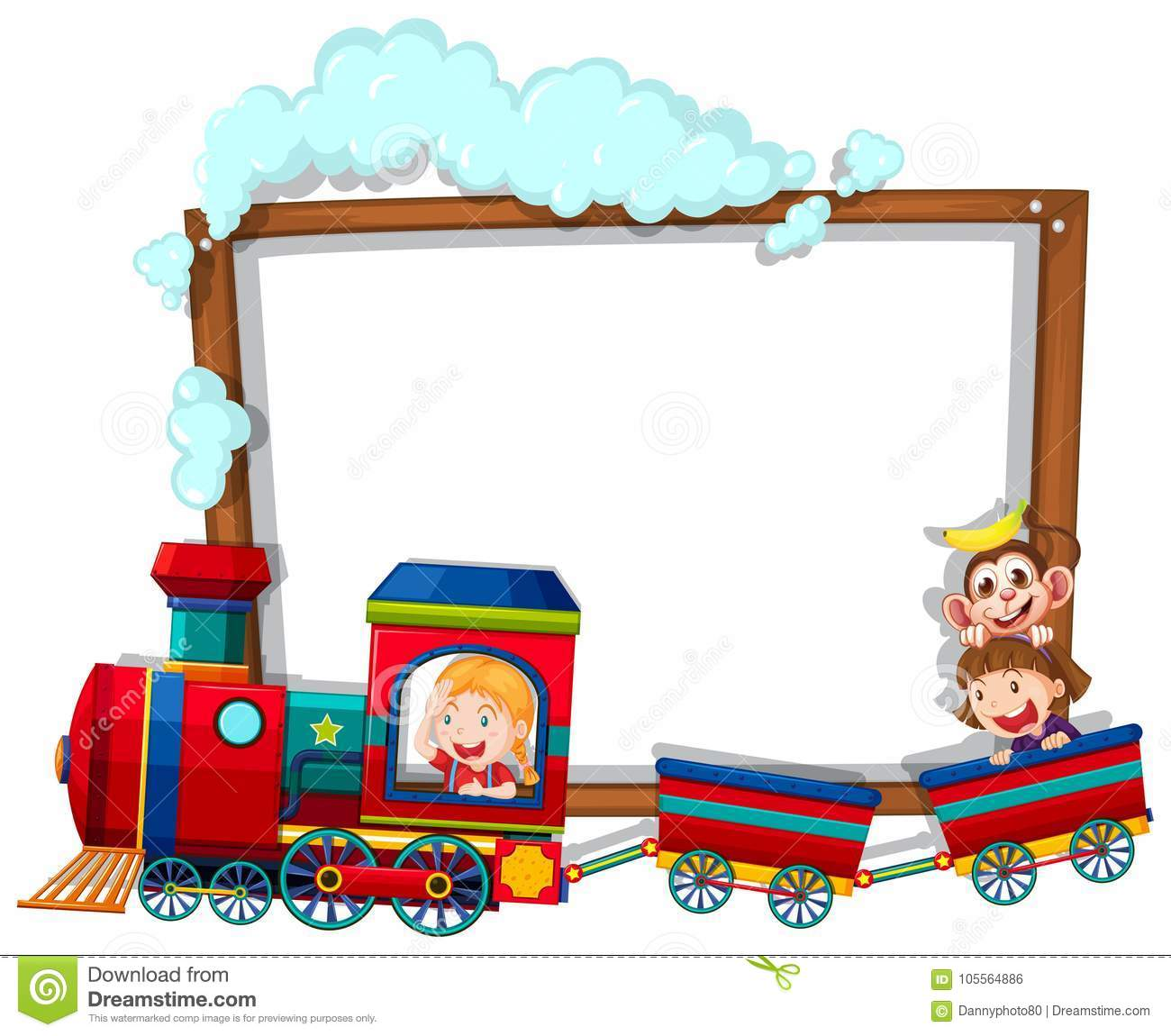 border template with kids on the train stock vector illustration