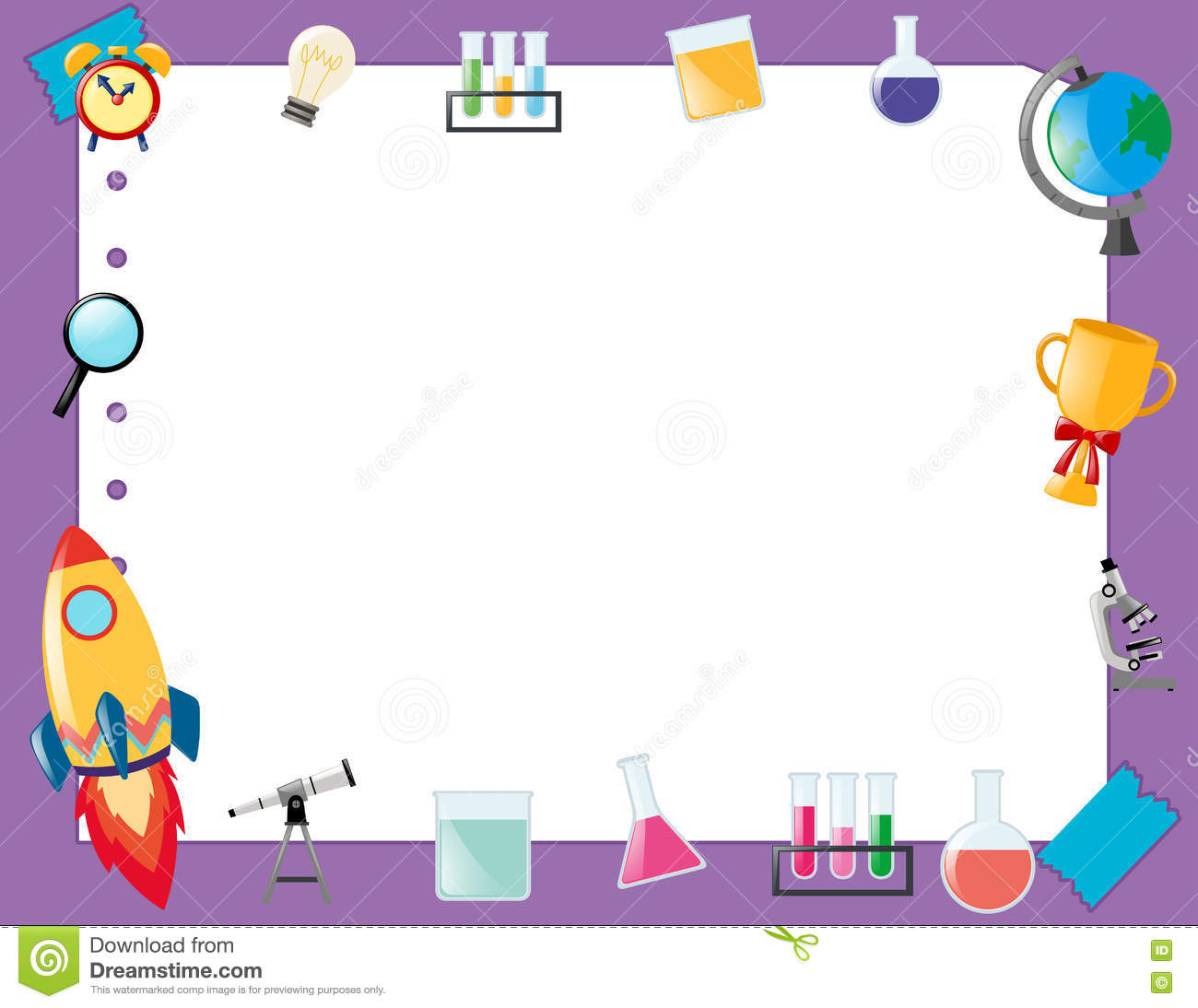 Science Design Project: Border Template With School Equipment Stock Illustration