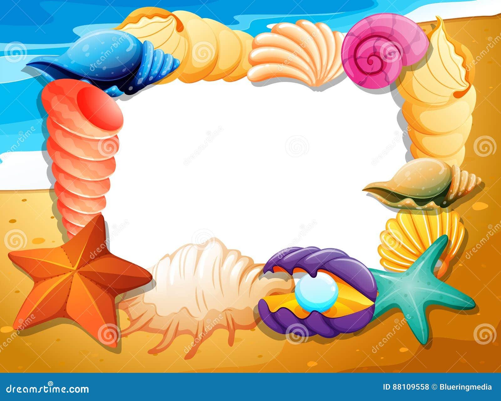 border template with seashells on beach stock vector image 88109558
