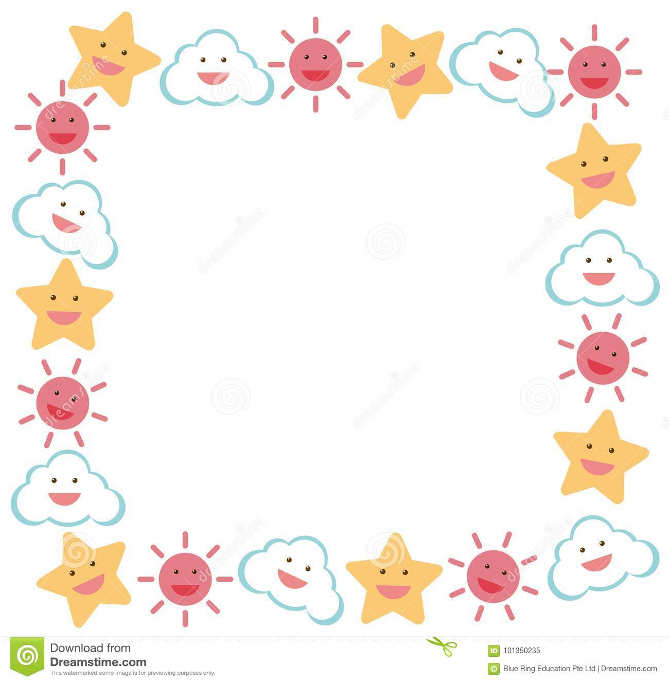 Border Template With Star And Sun Stock Illustration Illustration