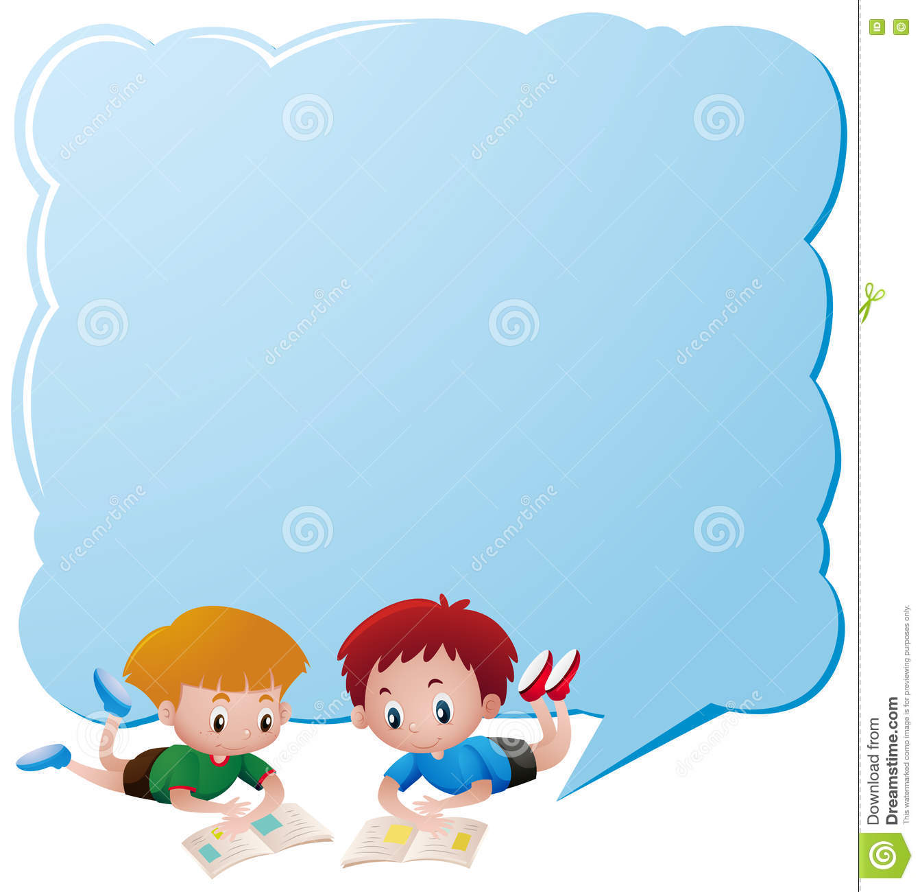 Border Template With Two Boys Reading Books Stock Vector ...
