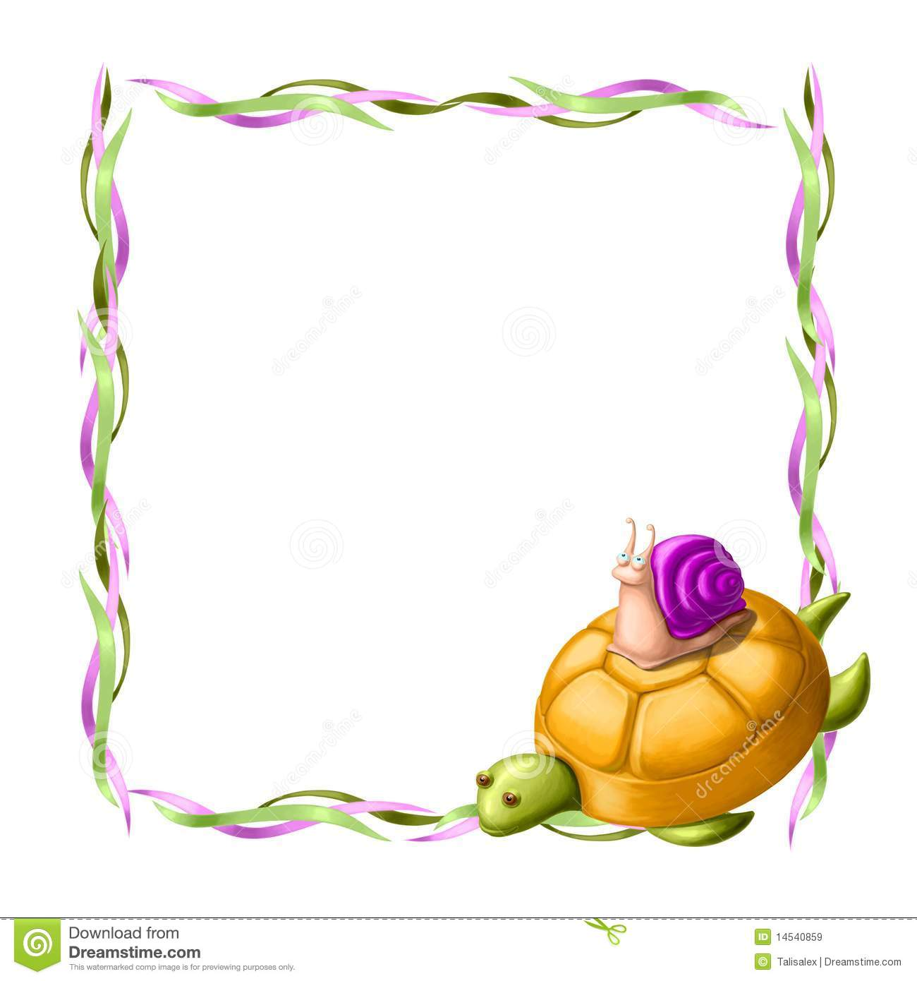Border With Turtle And Snail Royalty Free Stock Images - Image ...