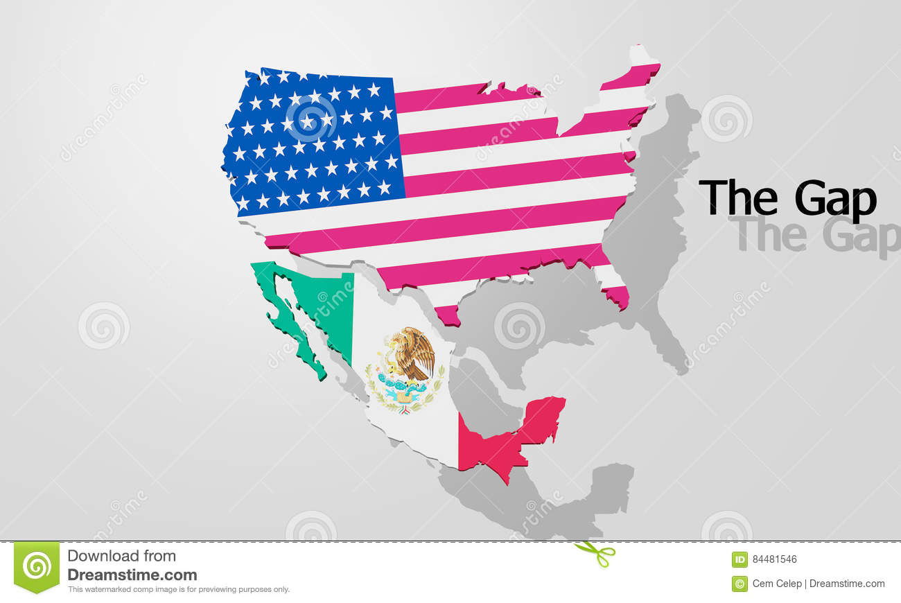 The Border Between USA And Mexico Stock Illustration Image - Usa and mexico