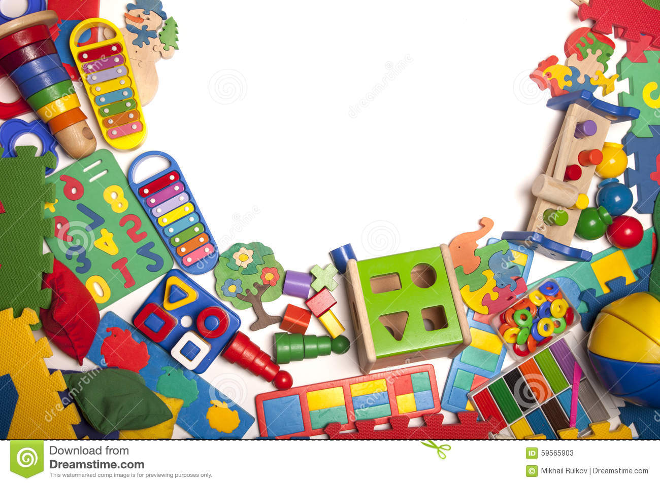 Boy Toys Border : Border of very many toys stock photo image