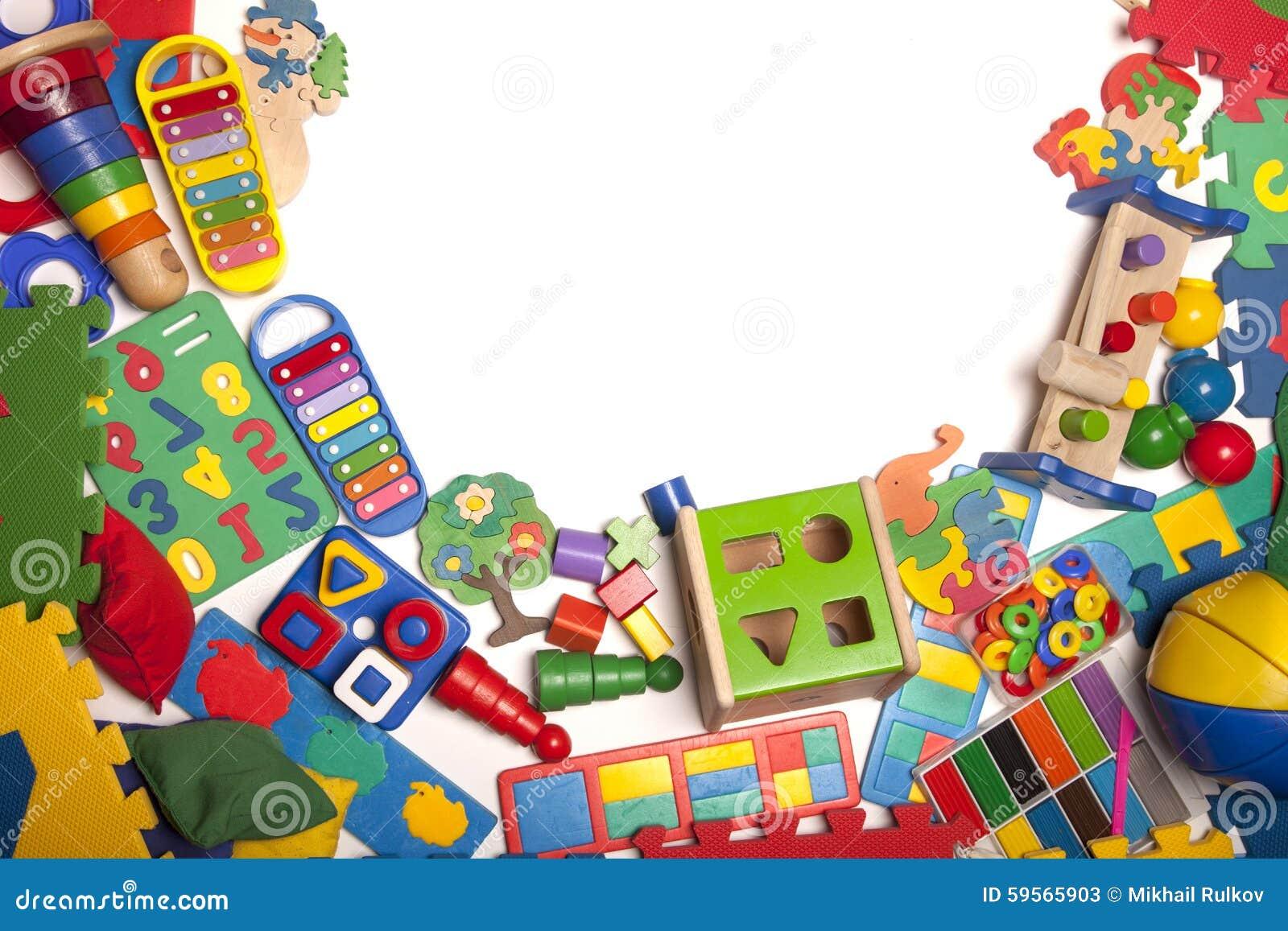 Little Boys Toys Border : Border of very many toys stock photo image
