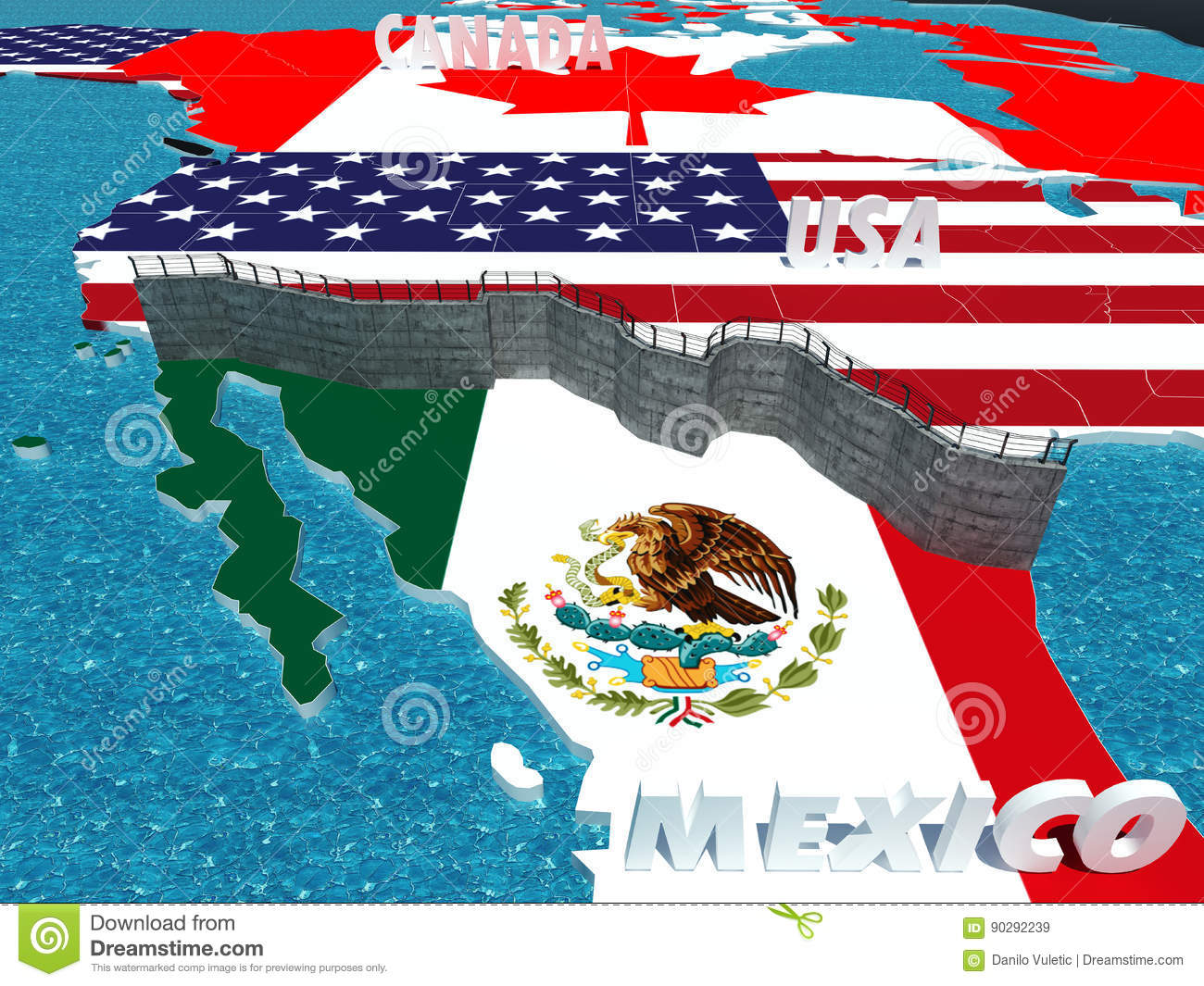 Border wall between Mexico and United States metahpor