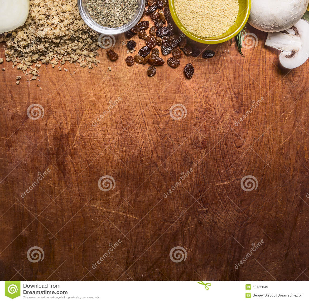 Download Border With Walnuts Raisins Mushrooms Couscous Seasoning On Wooden Rustic Background Close Up